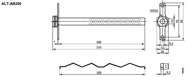 Размеры защитной гильзы Siemens ALT-AB200
