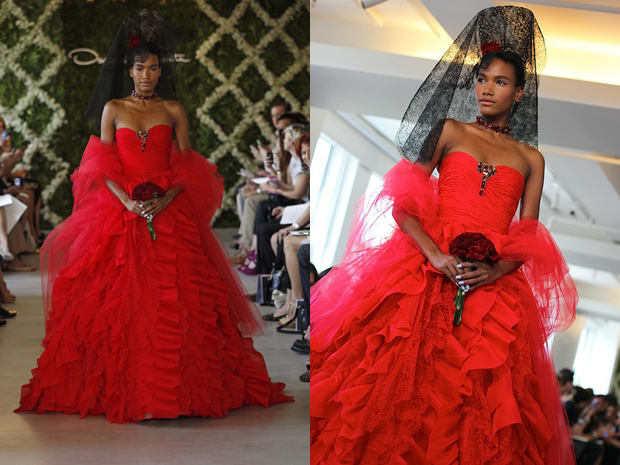 Oscar de la Renta Bright Red Wedding Dress, Неделя свадебной моды 2013