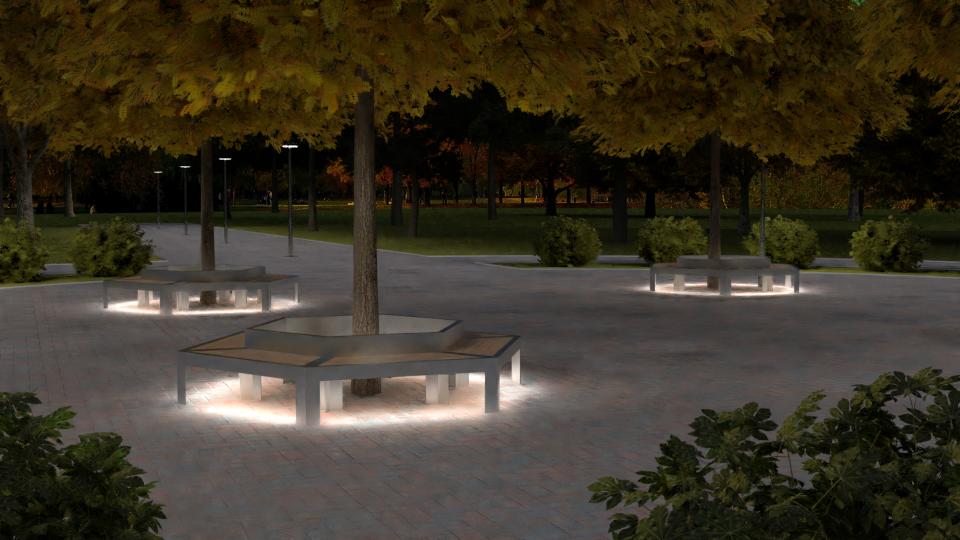 маф скамья для города с led подсветкой