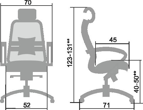 Размеры кресла Samurai 2.03