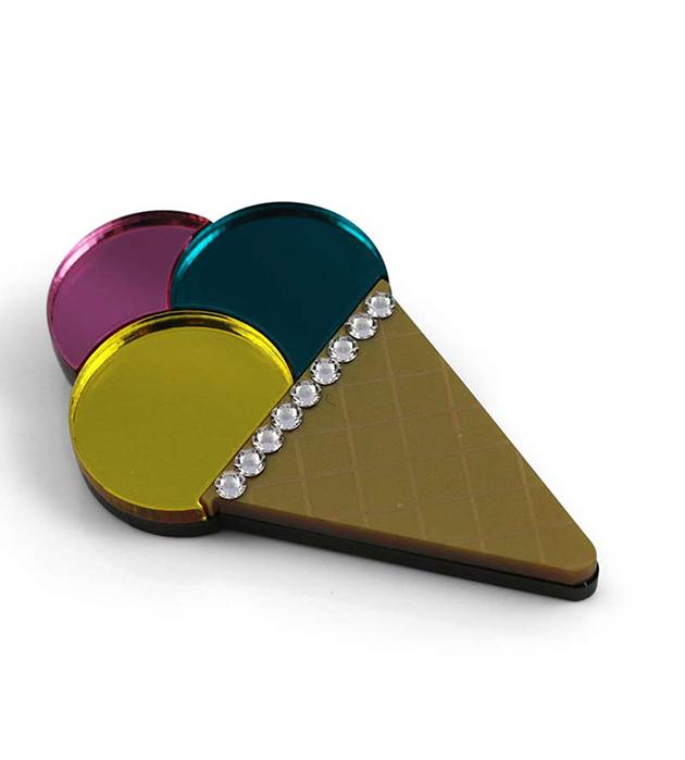 купите брошь ручной работы Triple Ice Cream Cone Yellow Brooch от английского бренда Jennifer Loiselle