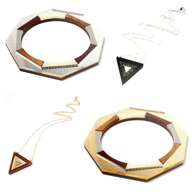 геометричные браслеты и подвески из дерева и плексигласа от Wolf&Moon