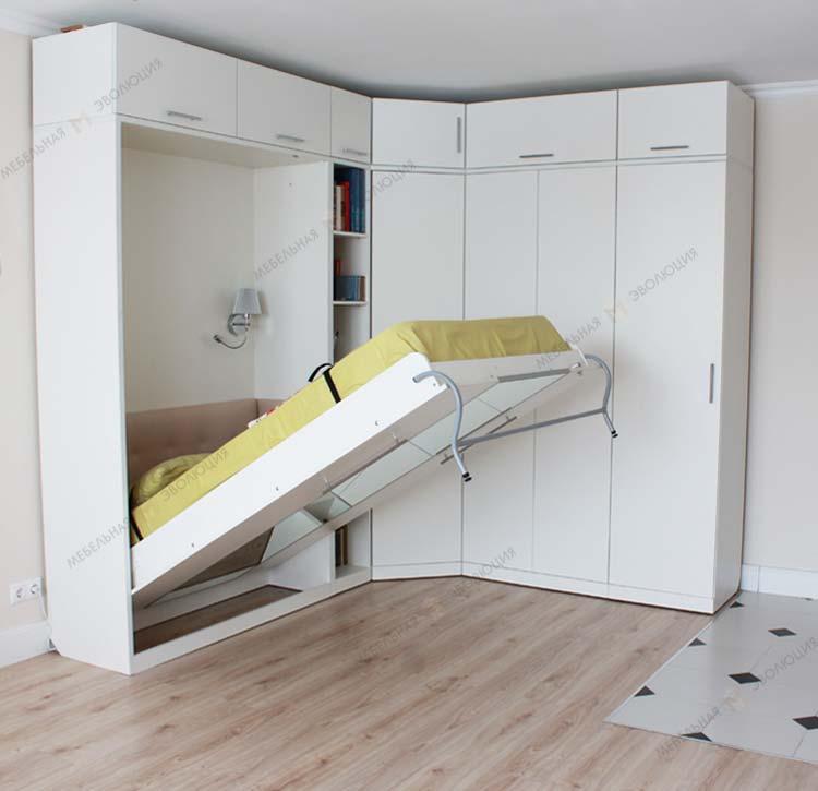 Кровать встроенная в угловой шкаф фото