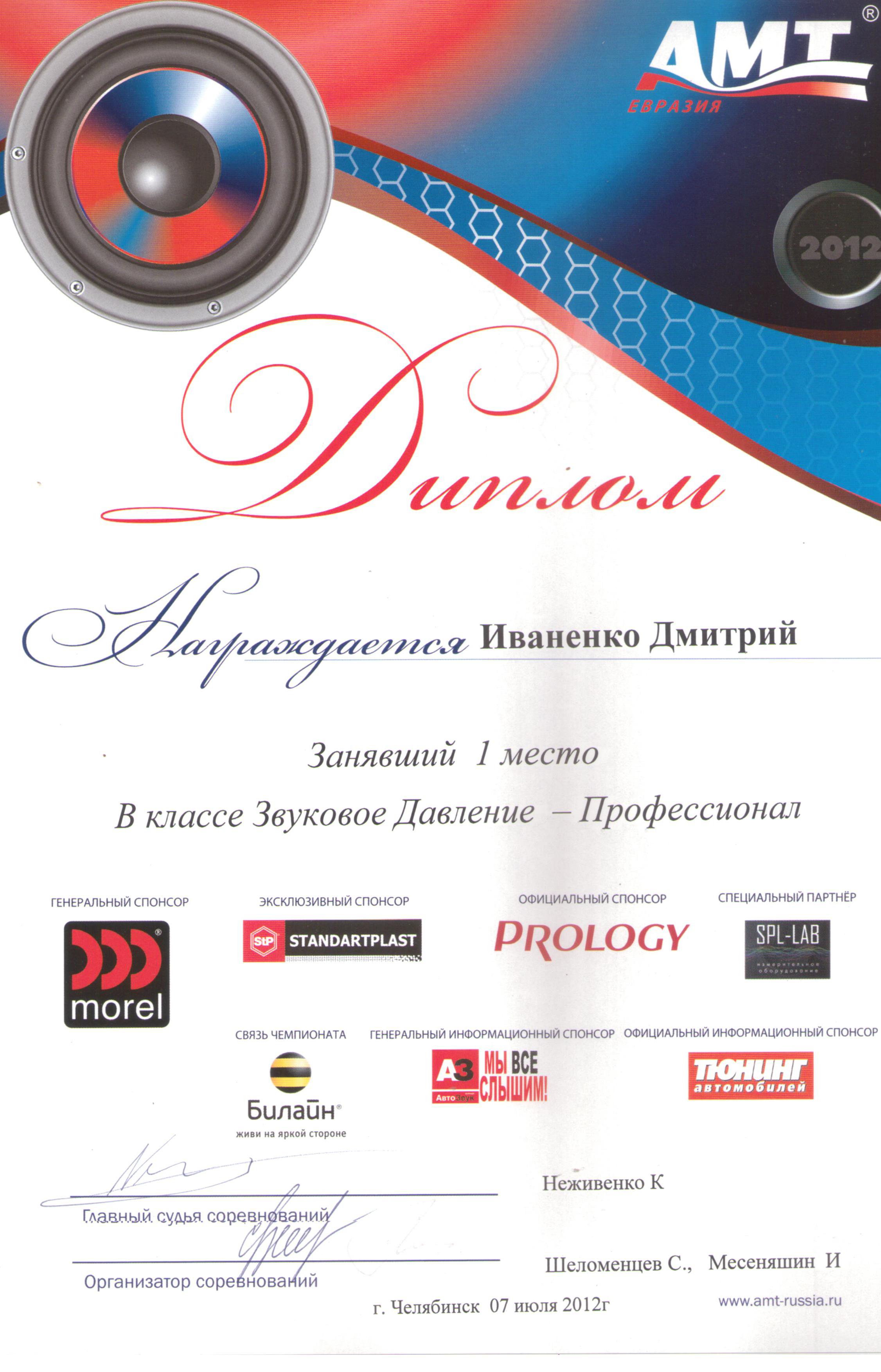 1 место АМТ Челябинск 2012г