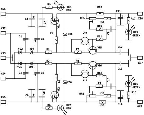 Радиоконструктор RP143. Блок защиты БП мощного УНЧ