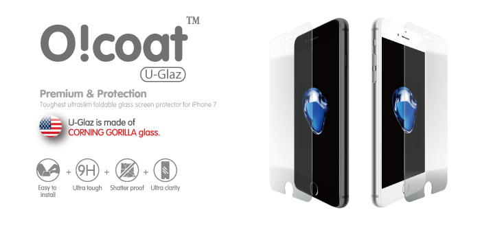 Противоударное стекло с олеофобным покрытием Ozaki O!coat U-GlazOC744GSдля iPhone 7.