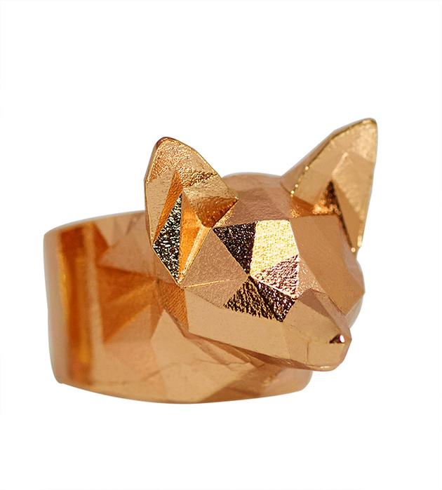 оригинальное кольцо с головой лисы THE GOLDY FOX от Thomas.V