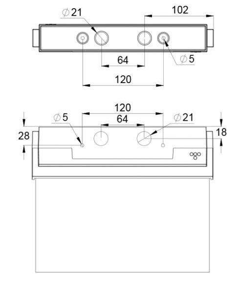 Монтажные размеры для светодиодного аварийного указателя выхода ESC-80