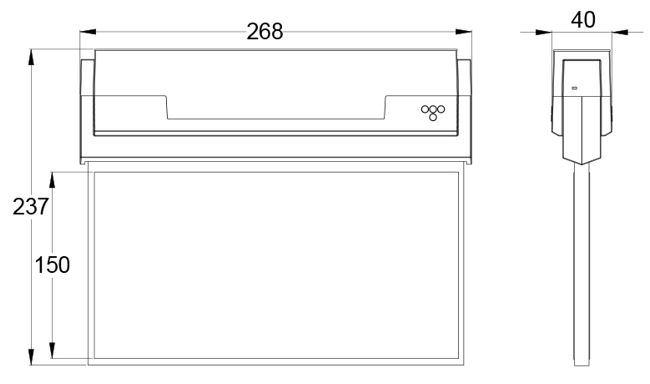 Размеры табло светодиодного аварийного указателя выхода ESC-80 с дальностью распознавания 30м