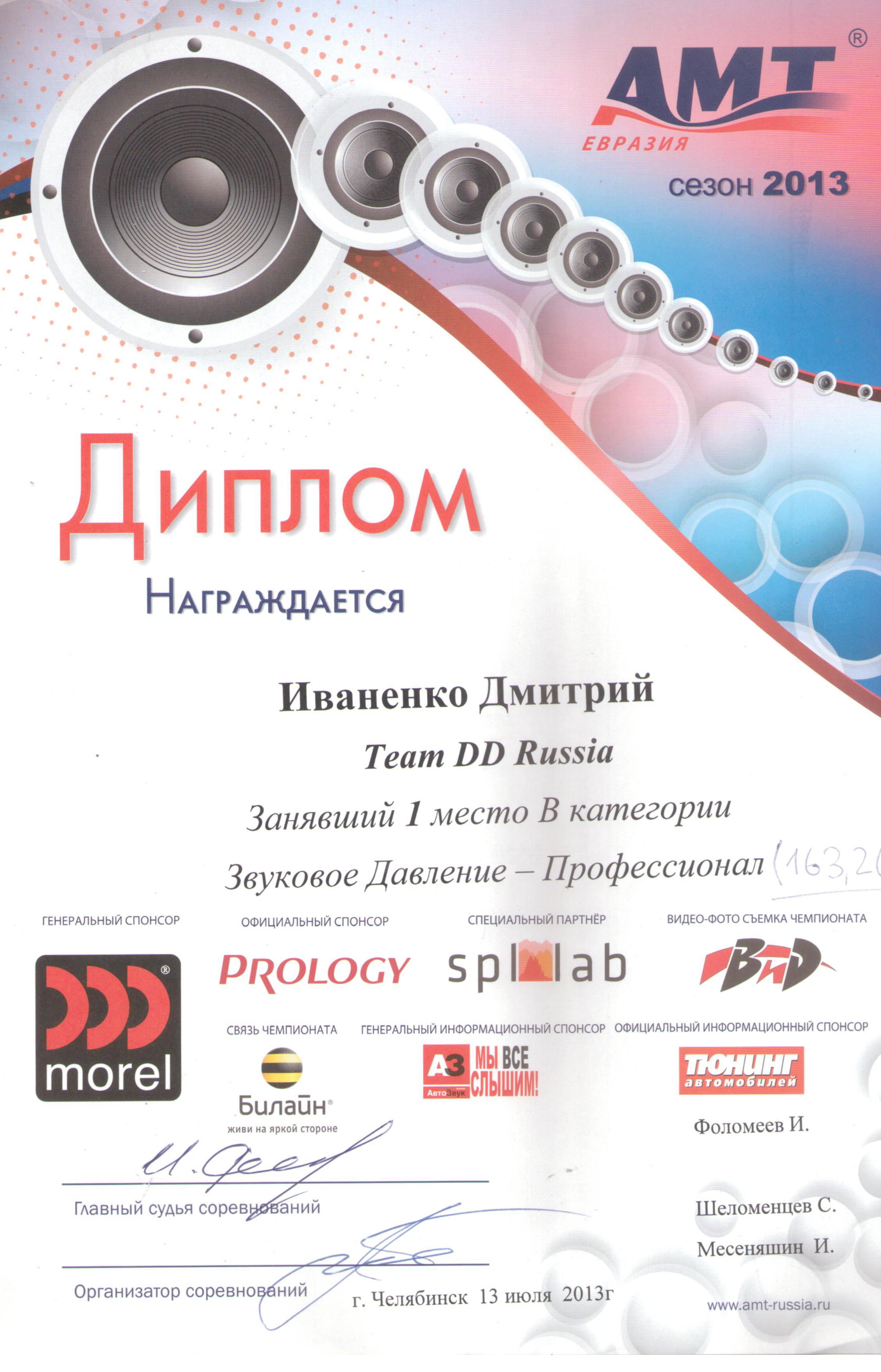 1 место АМТ Челябинск 2013г