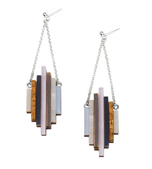 купите серьги ручной работы от английского бренда Wolf&Moon - Ripple earrings Lavender Blue