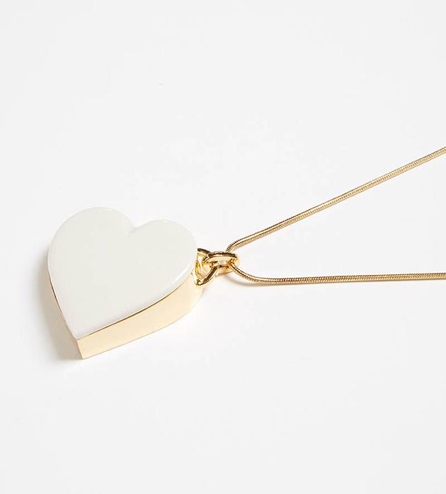 золотисто-белоснежное колье ручной работы от ANDRES GALLARDO - Single Heart White