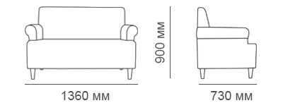 габаритные размеры дивана Клерк