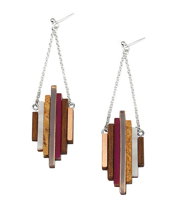 купите длинные серьги ручной работы от английского бренда Wolf&Moon - Ripple earrings Plum
