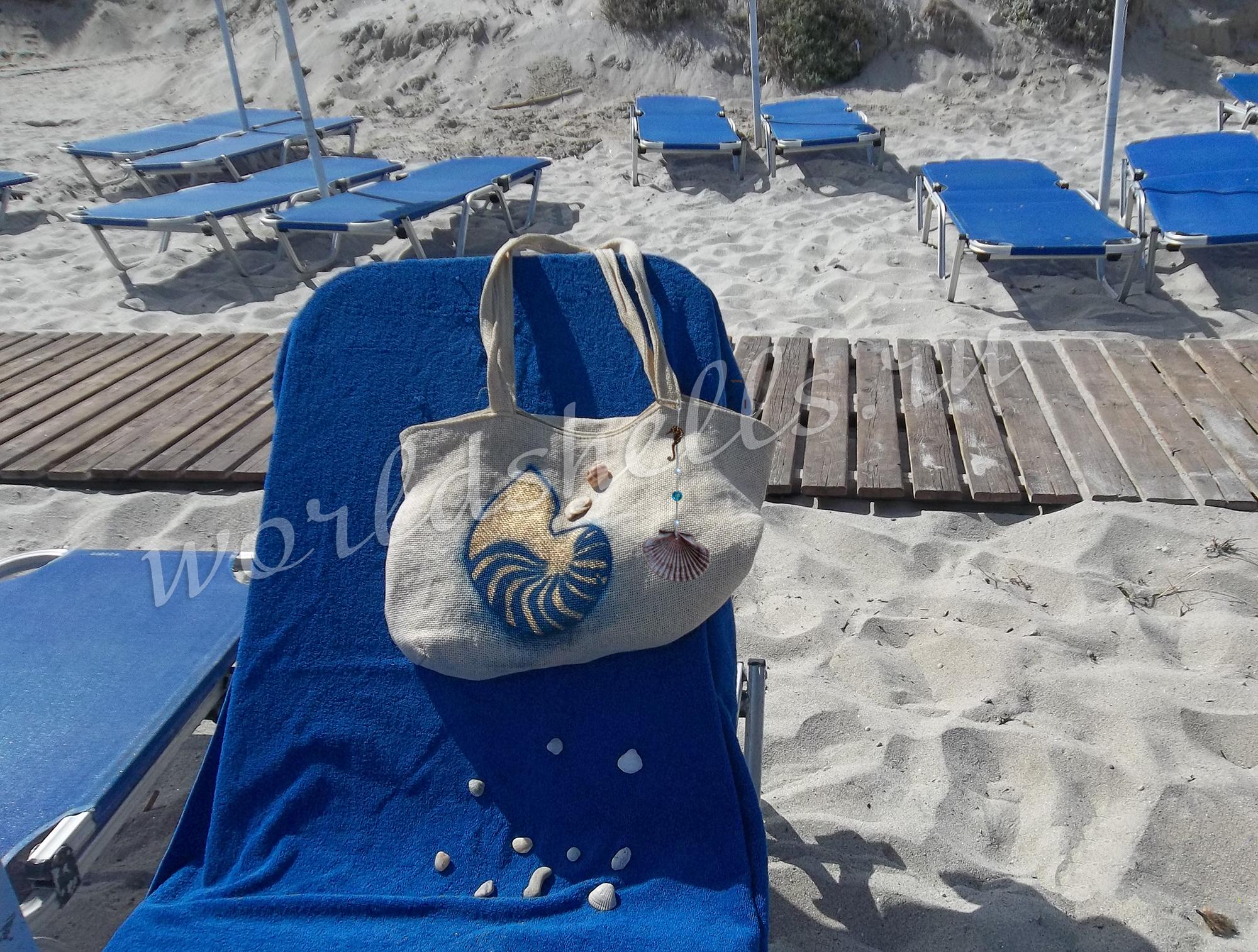 Сумка для пляжа в морском стиле с принтом и подвеской из морской ракушки