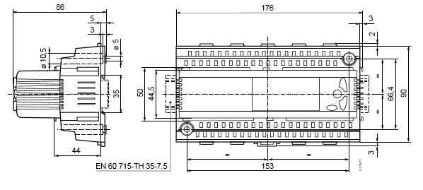 Размеры универсального контроллера Siemens RLU236