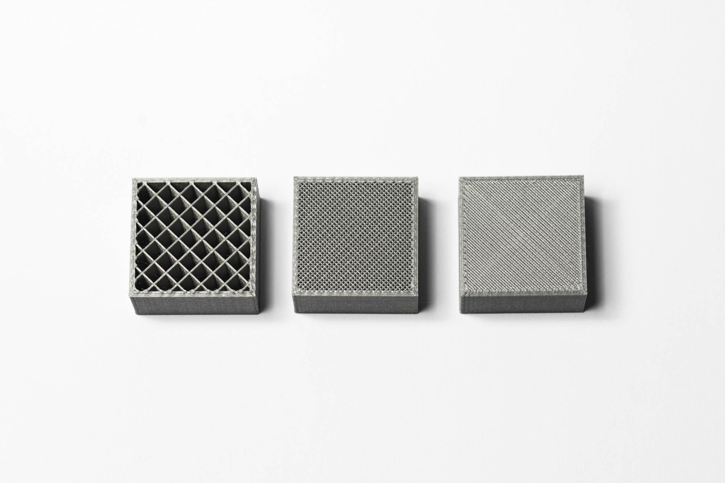 Внутренняя геометрия отпечатков FDM с различной плотностью заполнения(изображение 3dhubs.com)