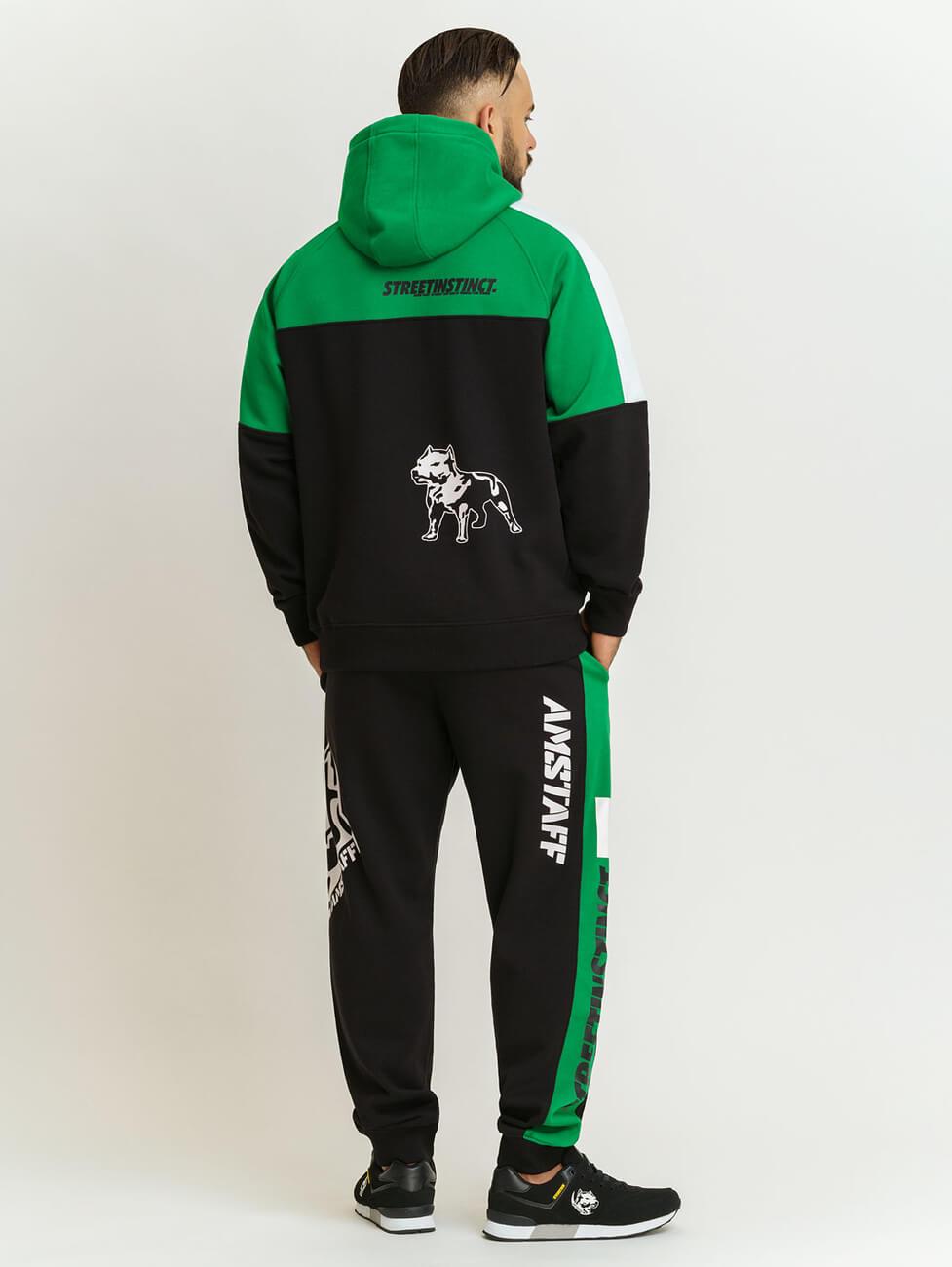 Зеленый с черным спортивный костюм с полосками по бокам