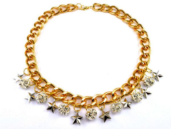 купить Колье-цепь с серебряными звездами и горным хрусталем фото
