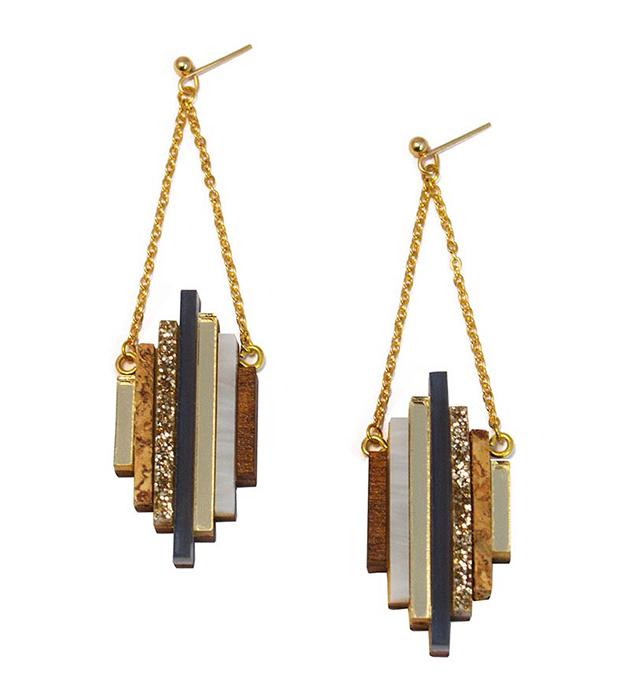 купите необычные серьги ручной работы от английского бренда Wolf&Moon - Ripple earrings Navy