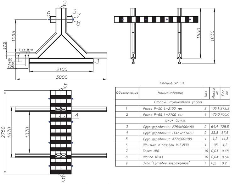 Комплектация путевого рельсового тупикового упора