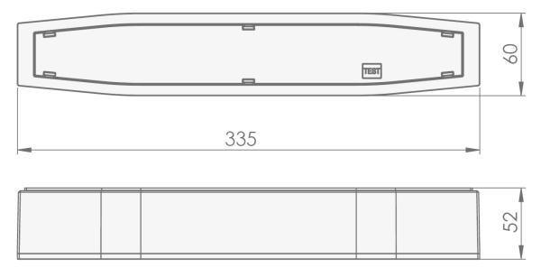 Размеры светильника для аварийного освещения эвакуационных проходов в торговых залах Suprema LED SСH NT IP54 Intelight