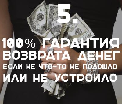 100% гарантия возврата денег, если не что-то не подошло или не устроило