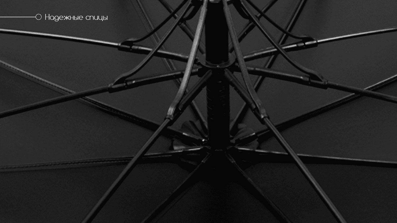 Премиальный зонт трость полуавтомат черный   Vendetta