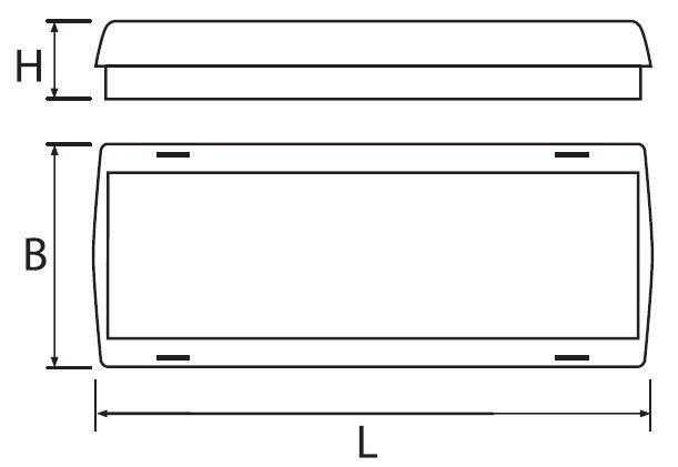 Размер аварийного светильника Aestetica