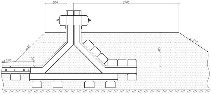 Схема установки тупикового упора