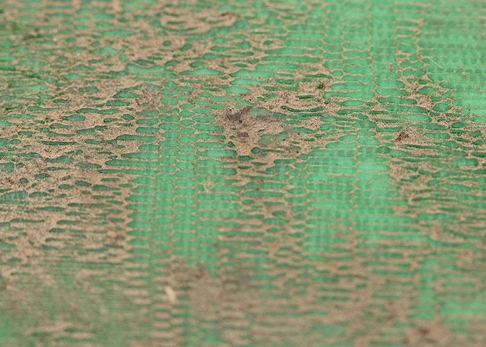 Модель из PLA-пластика. Плоская поверхность (дно) 3D-распечатанной из PLA ловушки для слизней, после погодных испытаний.