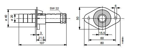 Размеры крепежного фланца Siemens AQM63.0