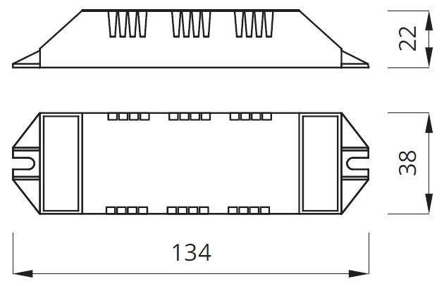 Размер аварийного блока светодиодного светильника UNI LED UM Awex