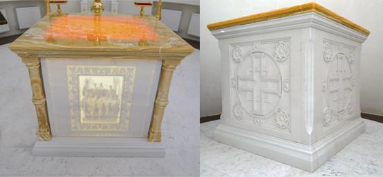 Мраморный престол с резьбой и подсветкой