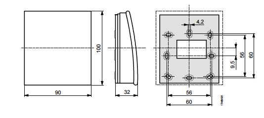 Размеры датчика Siemens QAA2012