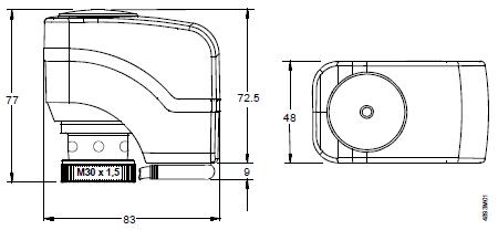 Размеры привода Siemens SSA31.04