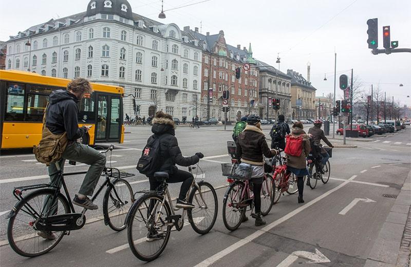Велосипедные светофоры в Копенгагене