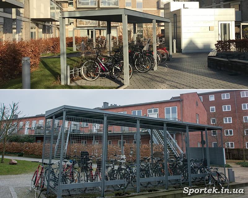 Велосипедные стоянки во дворе домов