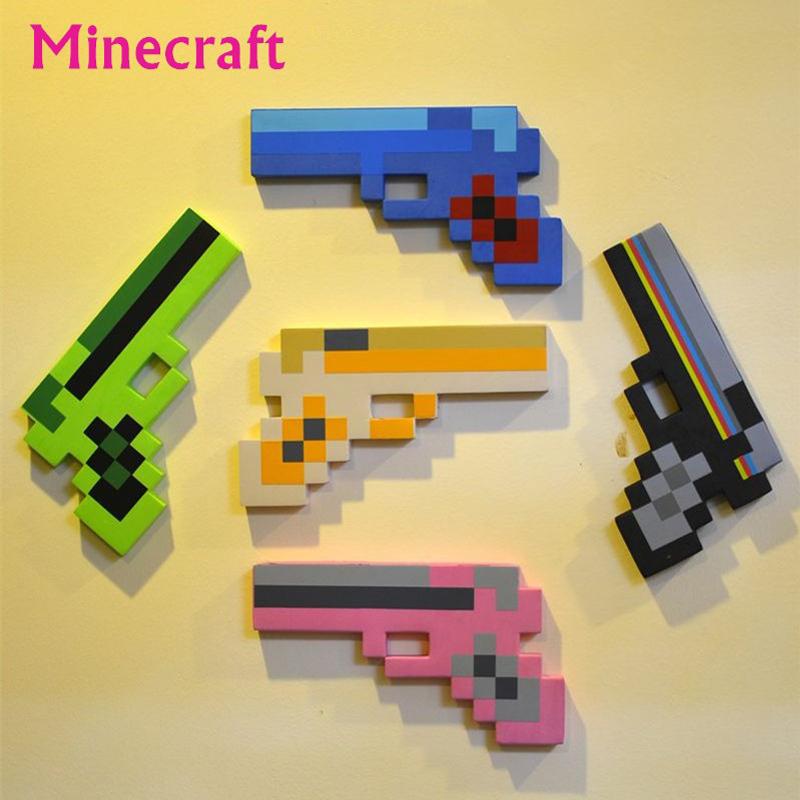 Пистолет Майнкрафт пиксельный разные цвета