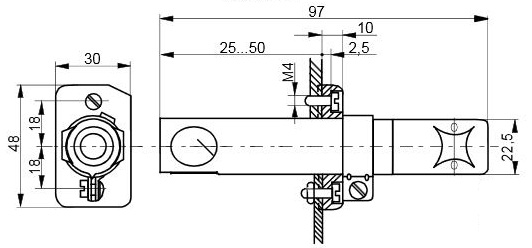 Размеры датчика пламени Siemens QRA2.9(1)