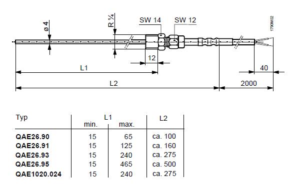 Размеры датчика Siemens QAE26.90