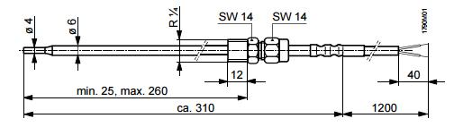 Размеры датчика Siemens QAE26.9