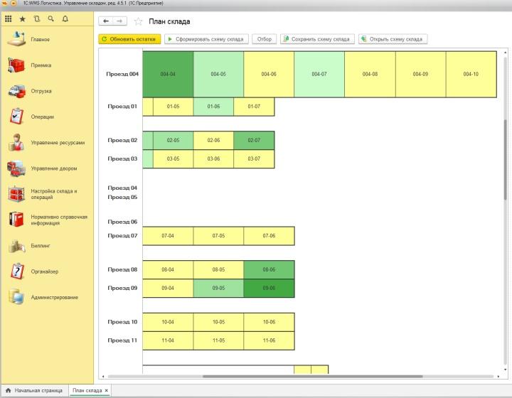 Работа над планом склада в «1С Логистика: Управление складом»