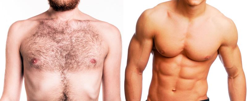 Волосатый мужчина против гладкой мужской кожи