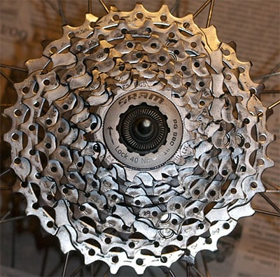 Изношенная кассета велосипеда