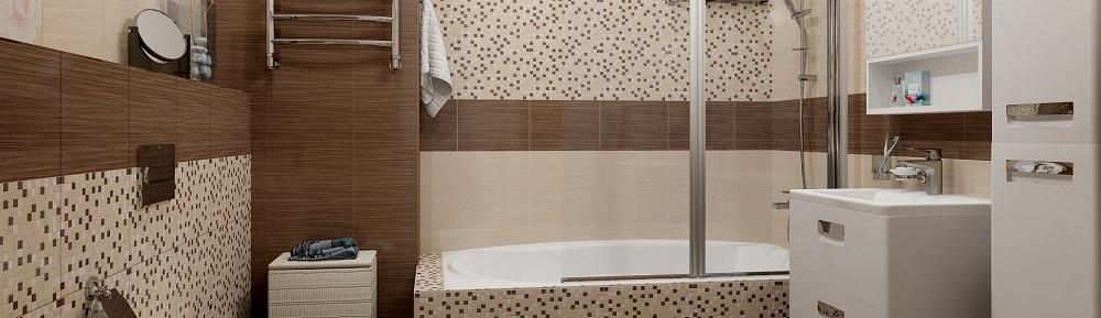 Двухсекционная шторка для ванной