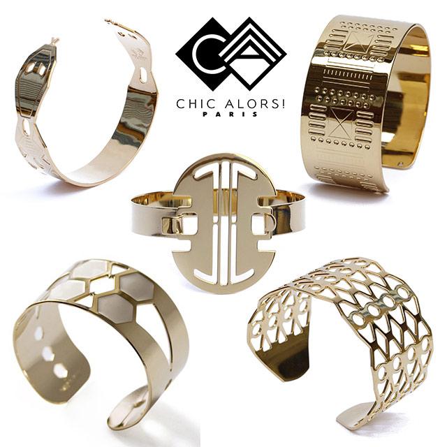 массивные браслеты из позолоченной латуни от CHIC ALORS Paris
