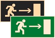 знаки фотолюминесцентные эвакуационные Е03 Направление к эвакуационному выходу направо