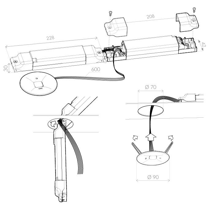 Монтажная схема для светильника аварийного эвакуационного освещения ONTEC C W1