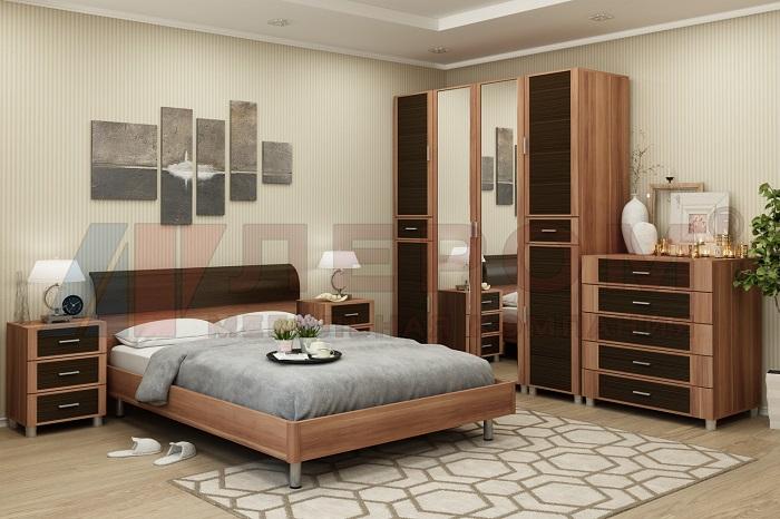КАМЕЛИЯ Мебель для спальни в цвете Слива Валис комбинированный